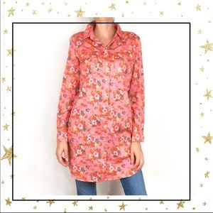 GAP Pink floral shirt dress tunic long sleeve